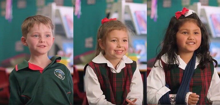 Screen grabs of 2 little girls and 1 little boy from the Wise at 5 video.