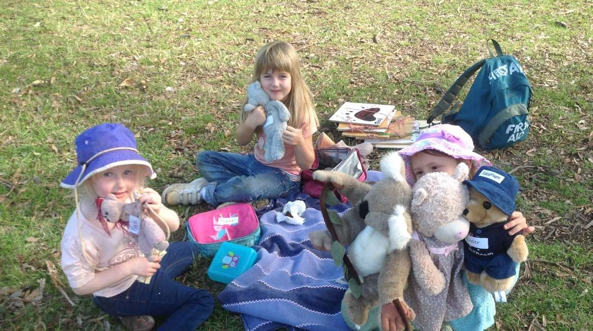 After walking the nature trail, students picnic with their teddies at the Canyon Picnic area.