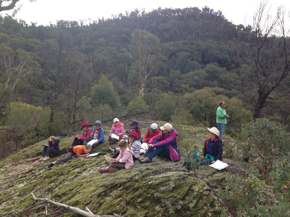 Student's sitting on the old lava flow.